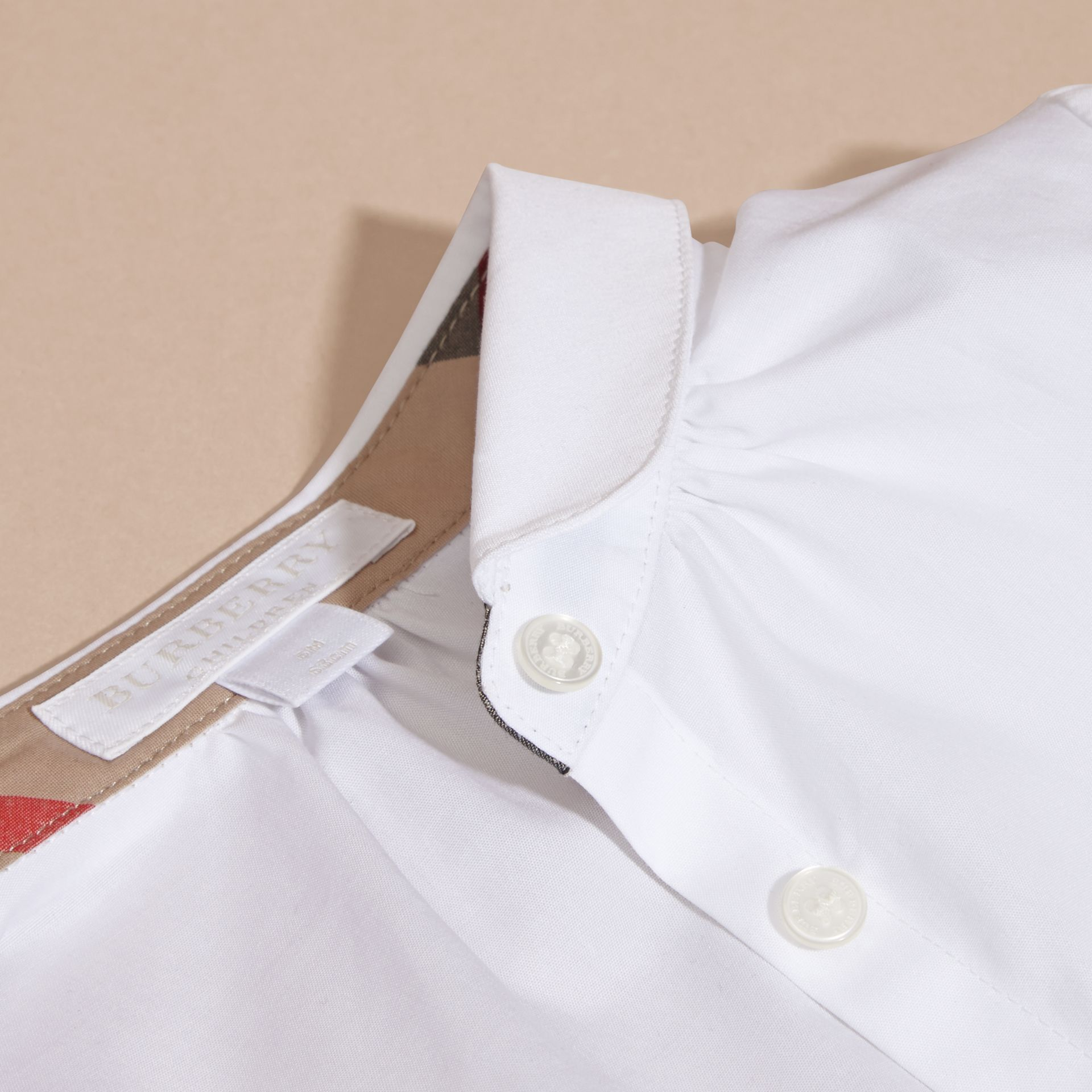 White Peter Pan Collar Stretch Cotton Shirt - gallery image 2