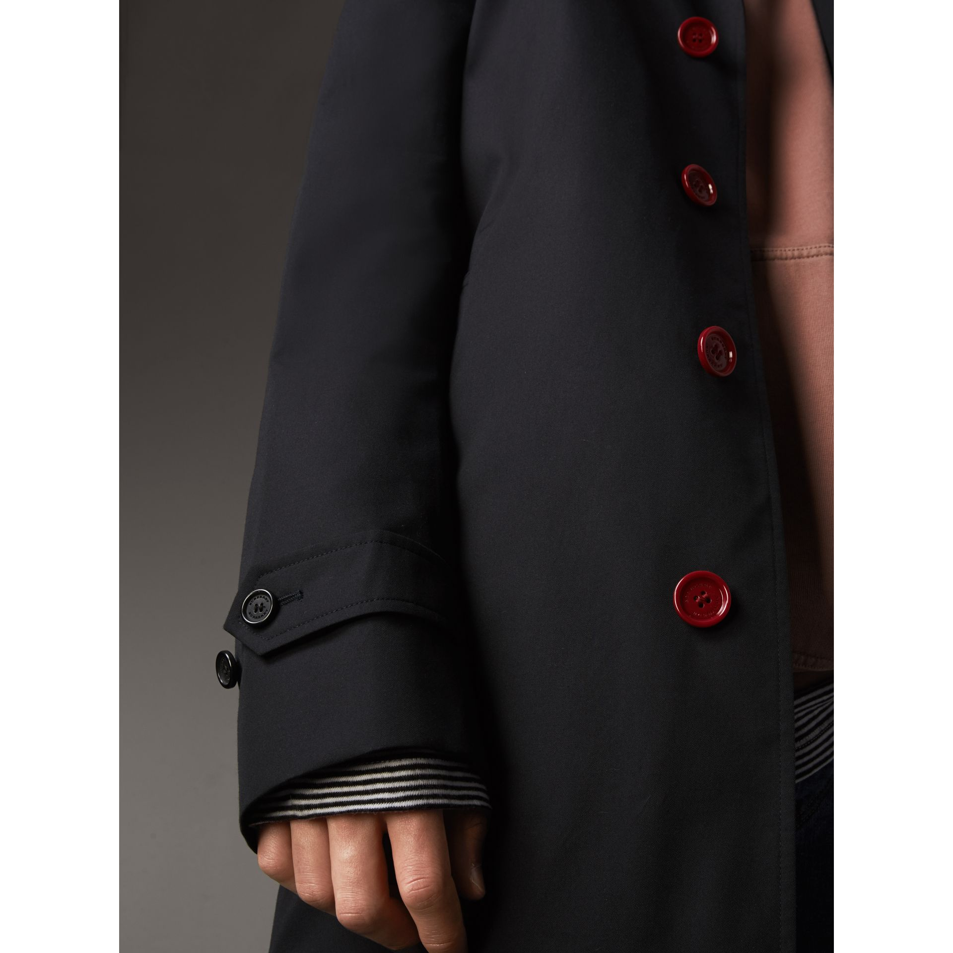 Resin Button Cotton Gabardine Car Coat in Navy - Men | Burberry - gallery image 5