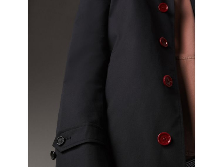 Resin Button Cotton Gabardine Car Coat in Navy - Men | Burberry - cell image 4