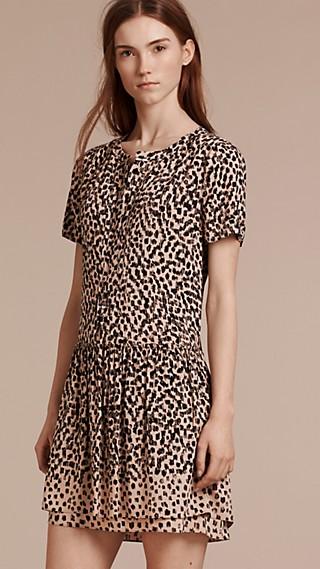 Dash Print Drop Waist Dress