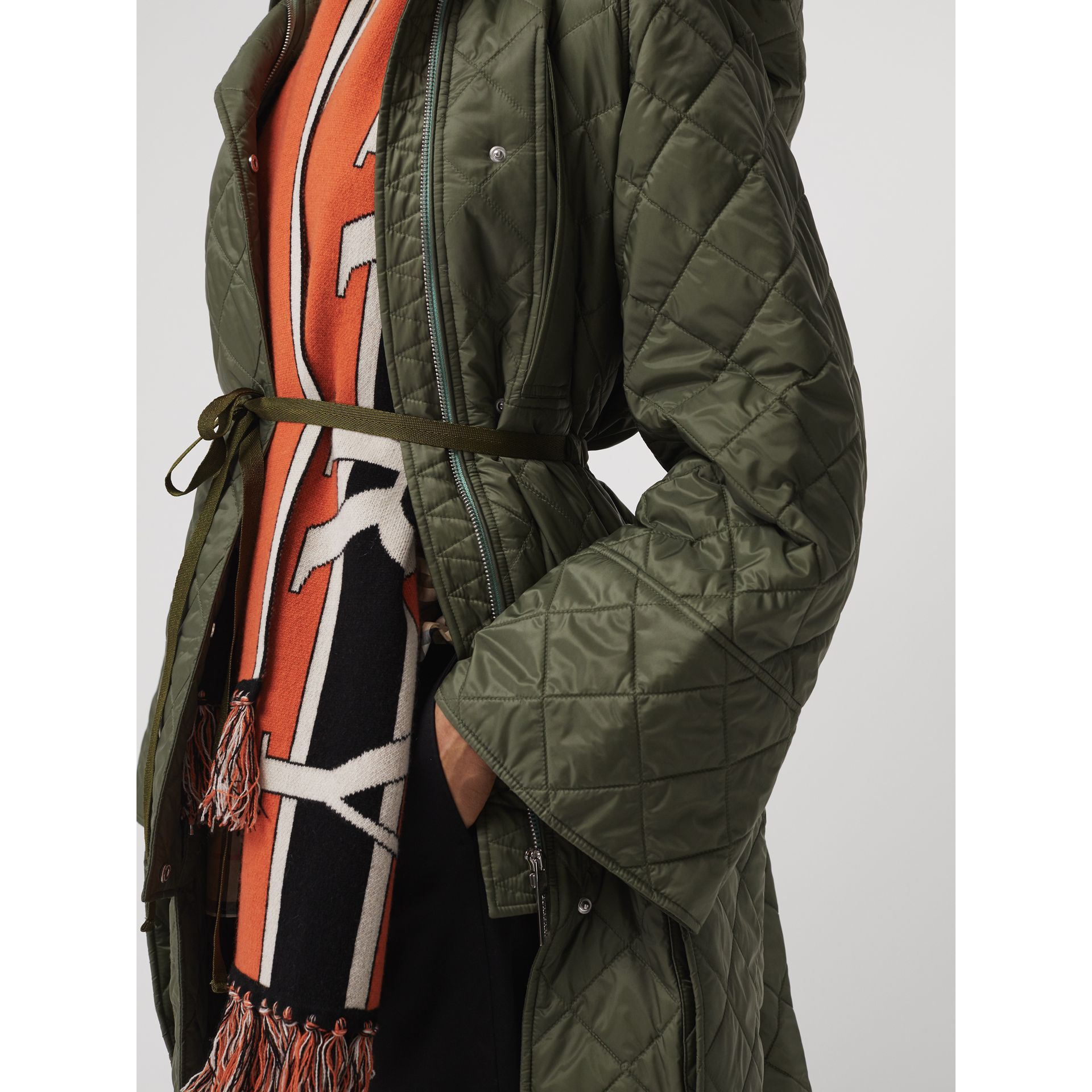 Lightweight Diamond Quilted Hooded Coat in Cadet Green - Women | Burberry Canada - gallery image 3