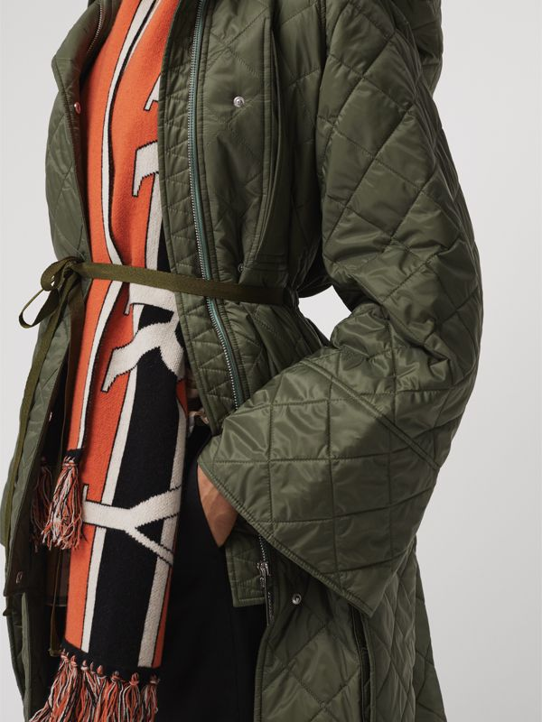 Lightweight Diamond Quilted Hooded Coat in Cadet Green - Women | Burberry - cell image 3