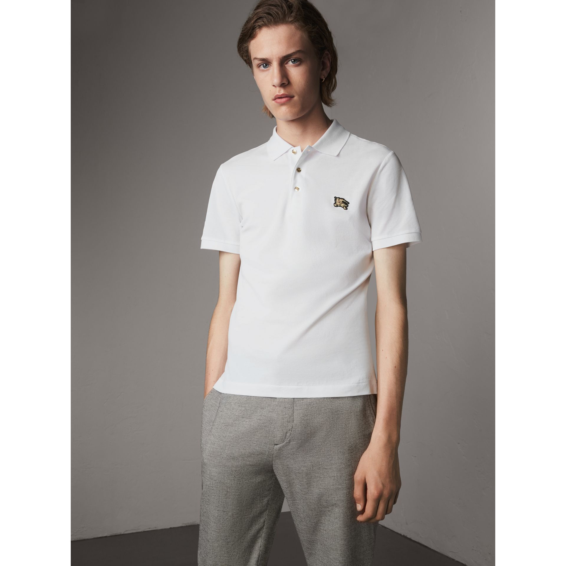 Cotton Piqué Polo Shirt in White - Men | Burberry Singapore - gallery image 1