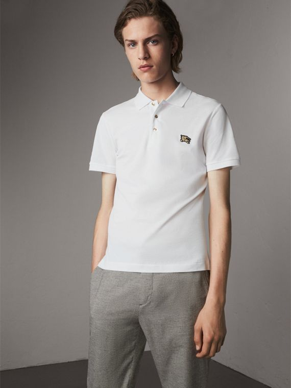Cotton Piqué Polo Shirt in White - Men | Burberry