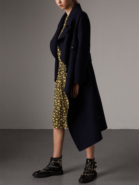 Double-faced Wool Cashmere Wrap Coat in Navy - Women | Burberry - cell image 3