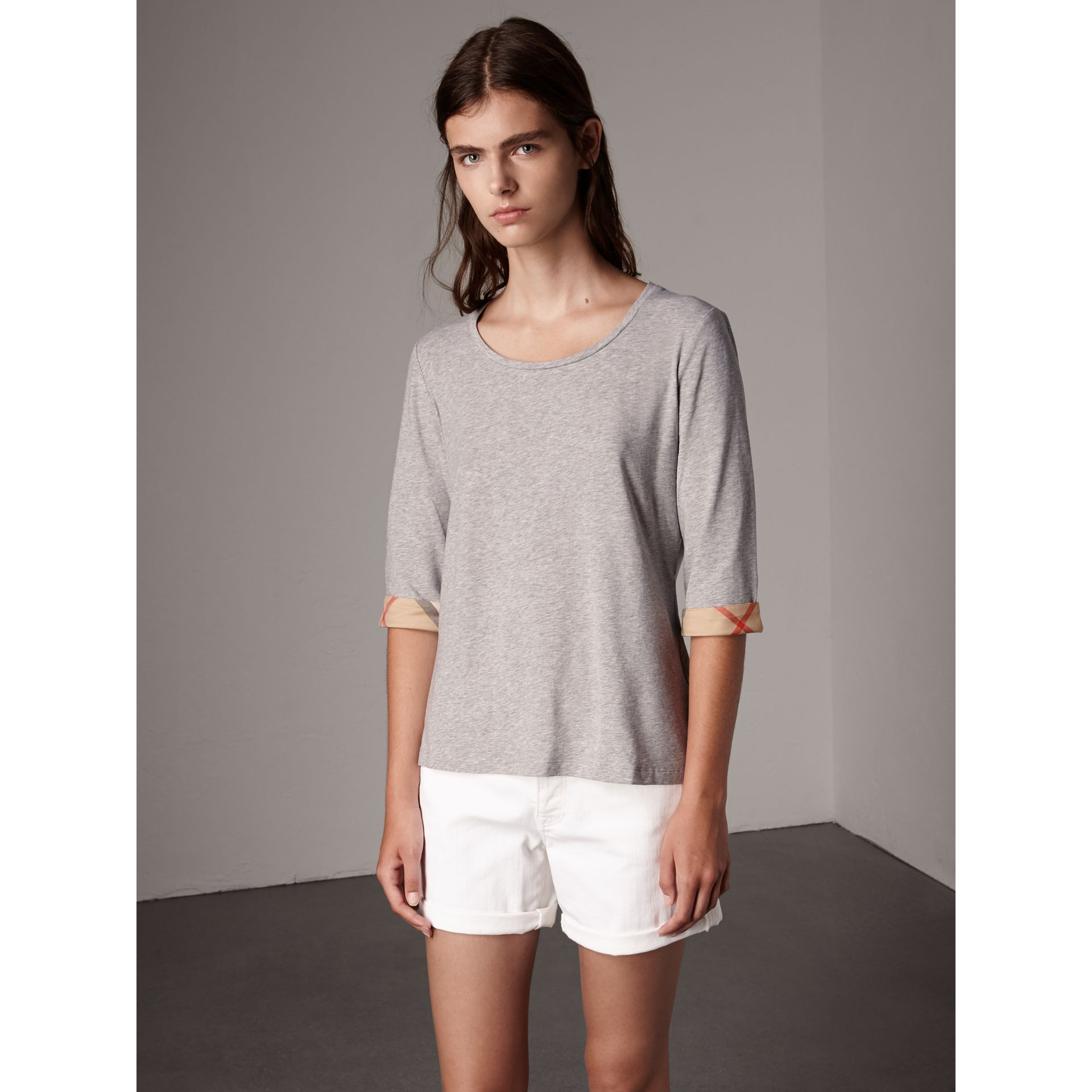 Check Cuff Stretch-Cotton Top in Pale Grey Melange - Women | Burberry - gallery image 0