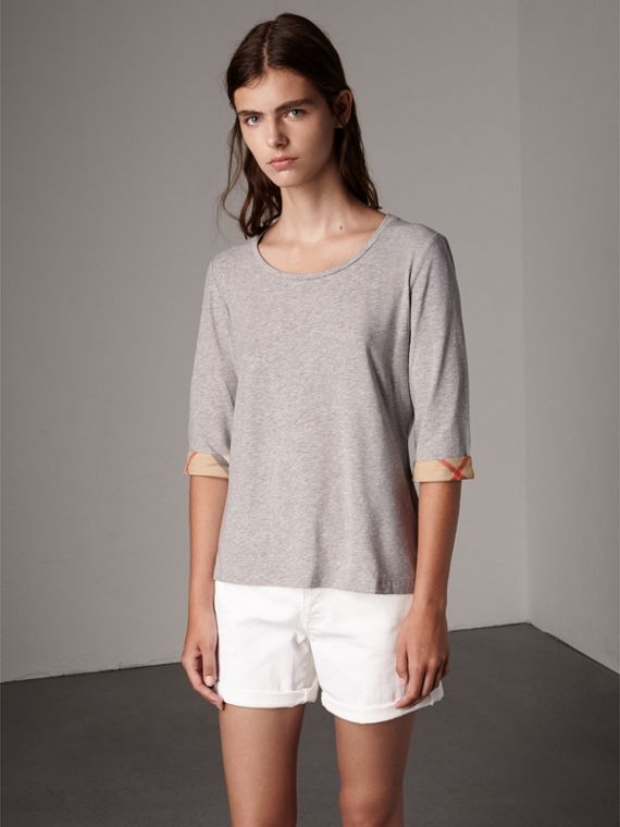 Check Cuff Stretch-Cotton Top in Pale Grey Melange