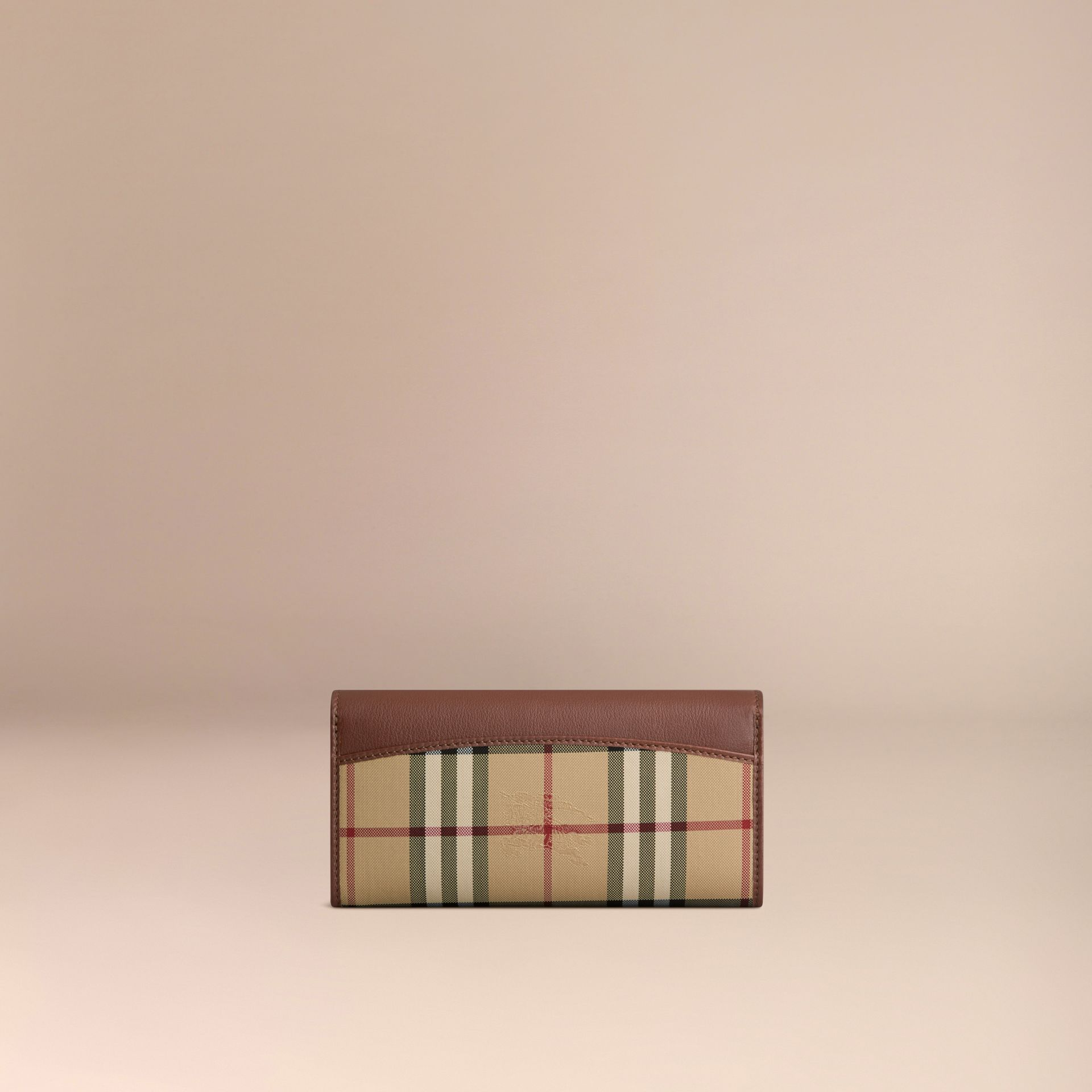 Horseferry Check and Leather Continental Wallet in Tan - Women | Burberry Hong Kong - gallery image 3
