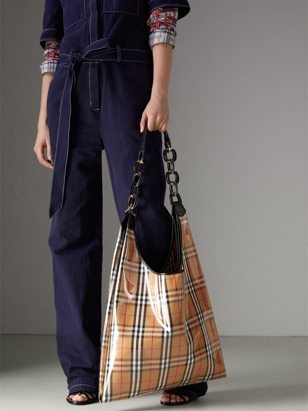 Medium Plastic Vintage Check and Leather Shopper in Antique Yellow/black - Women | Burberry Australia - cell image 3