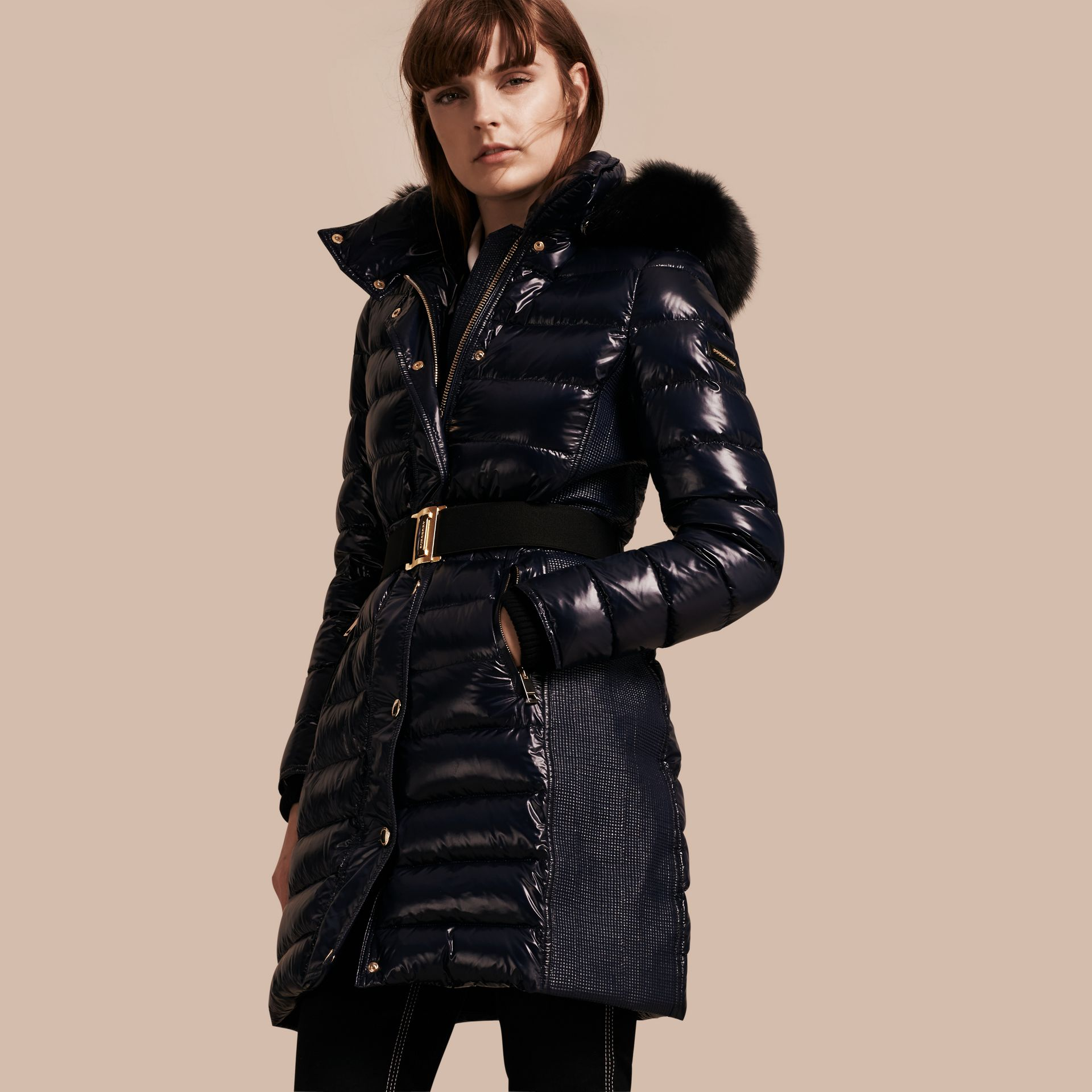 Down-Filled Coat with Detachable Fur-trimmed Hood in Navy - gallery image 1