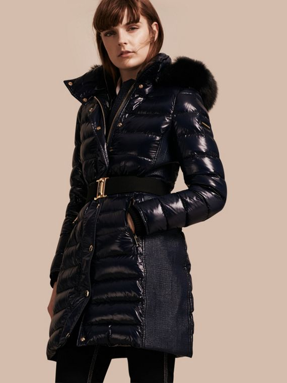 Down-Filled Coat with Detachable Fur-trimmed Hood Navy