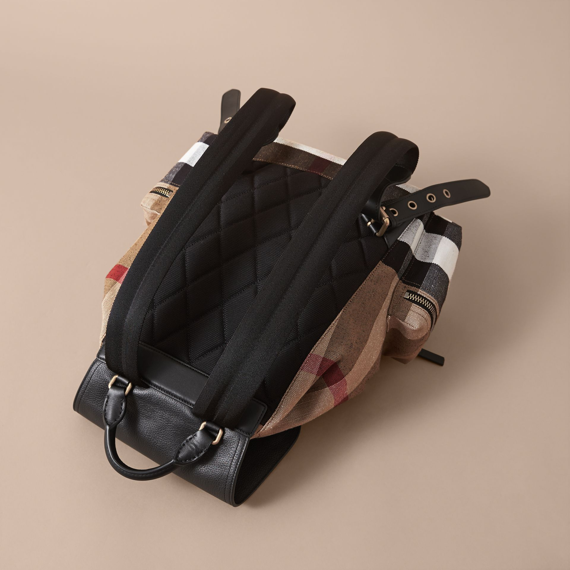 The Large Rucksack in Canvas Check and Leather in Classic - Men | Burberry United Kingdom - gallery image 3