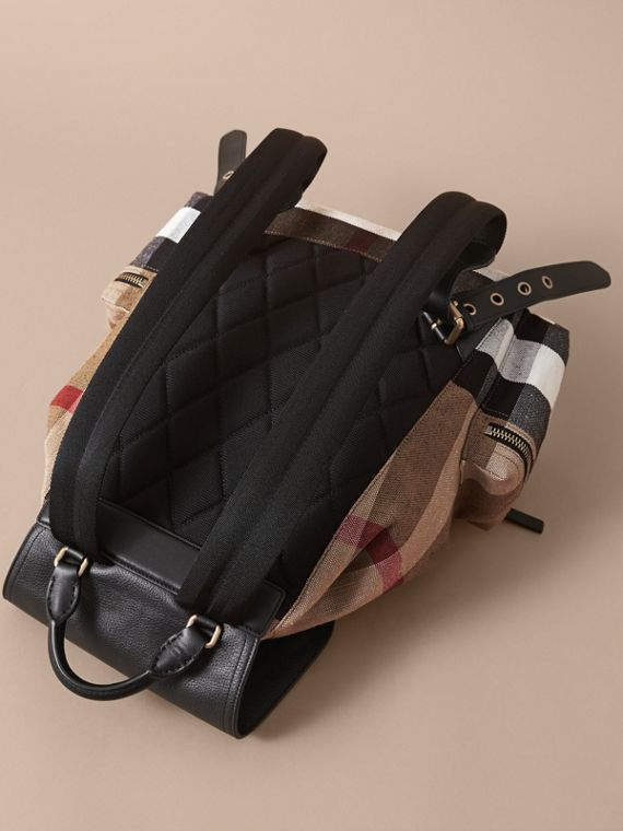 The Large Rucksack in Canvas Check and Leather in Classic - Men | Burberry - cell image 3