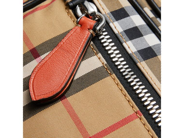 Vintage Check and Leather Crossbody Bag in Clementine | Burberry United States - cell image 1