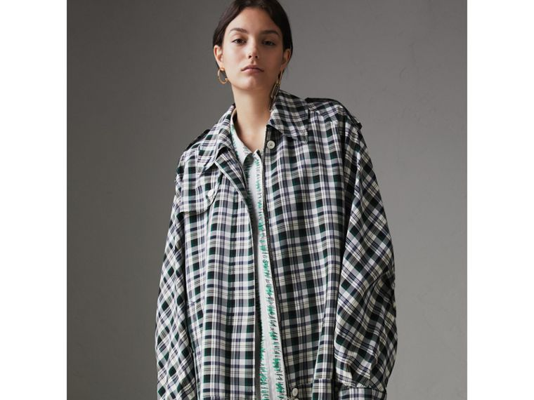 Check Oversized Harrington Jacket in Dark Forest Green - Women | Burberry - cell image 4