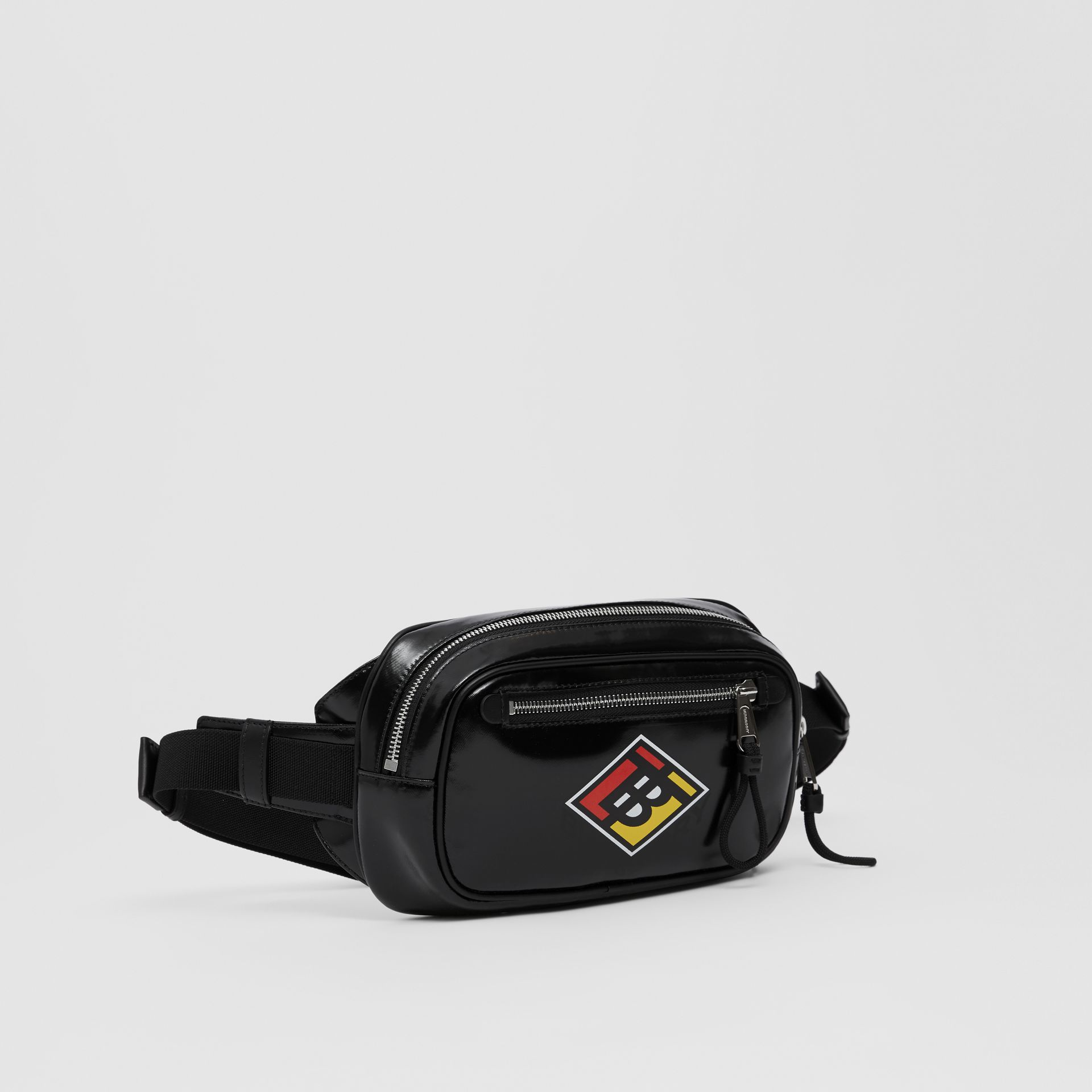 Logo Graphic Coated Canvas Bum Bag in Black | Burberry - gallery image 8