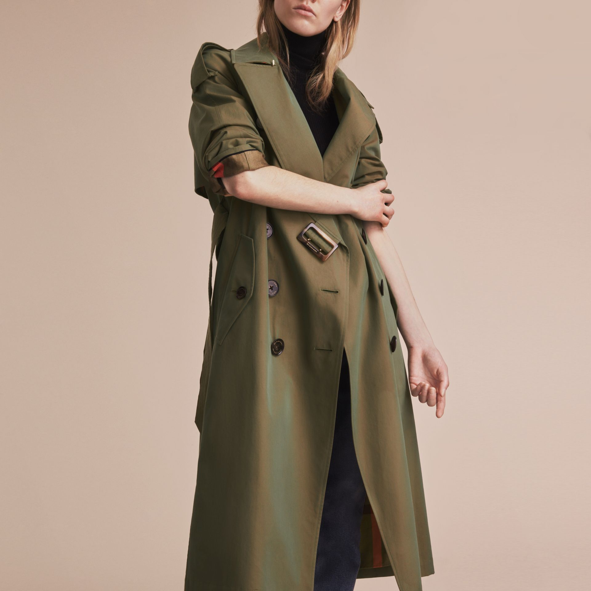 Tropical Gabardine Trench Coat in Bright Olive - Women | Burberry - gallery image 6