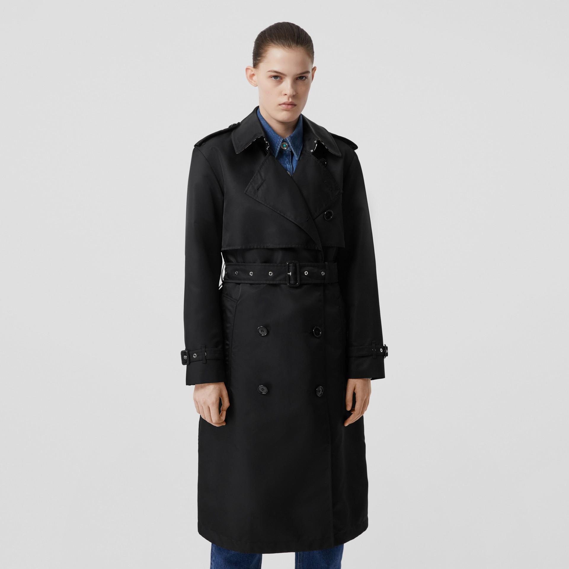 Nylon Twill Trench Coat in Black - Women | Burberry Australia - gallery image 0