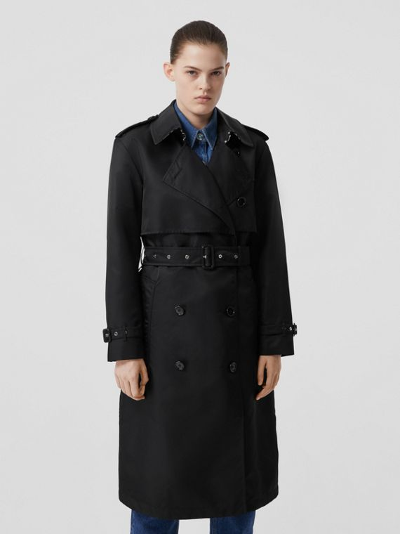 Trench coat de sarja de nylon (Preto)