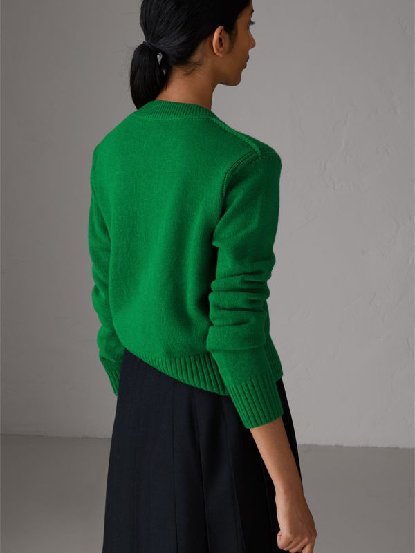 Bird Button Cashmere Cardigan in Mineral Green - Women | Burberry - cell image 2