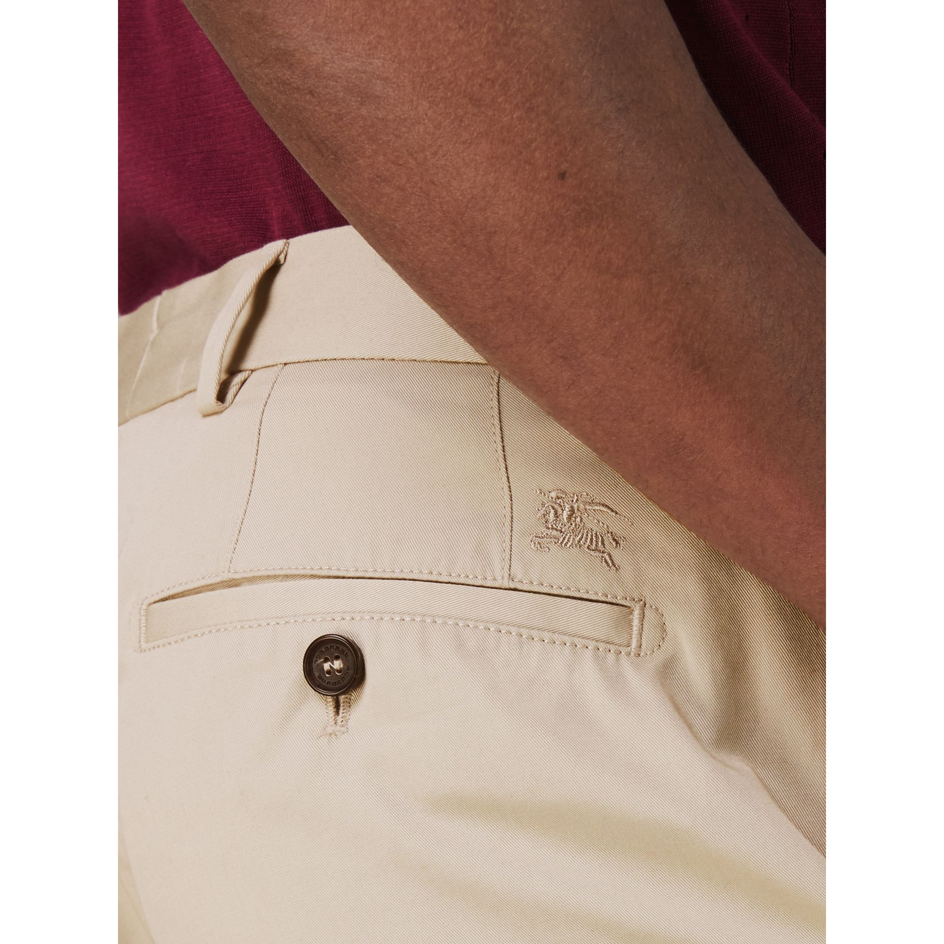 Slim Fit Cotton Chinos in Stone - Men | Burberry Australia - gallery image 1
