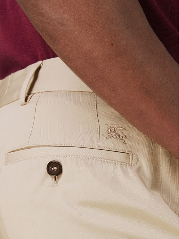 Slim Fit Cotton Chinos in Stone - Men | Burberry United States - cell image 1
