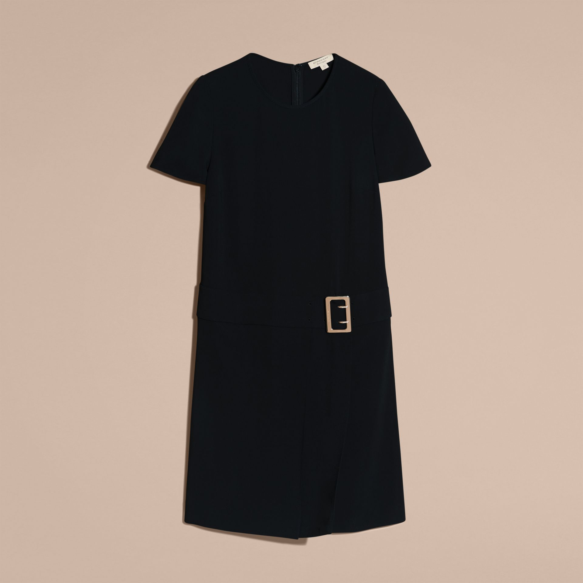 Buckle Detail Pleated Shift Dress in Black - gallery image 4