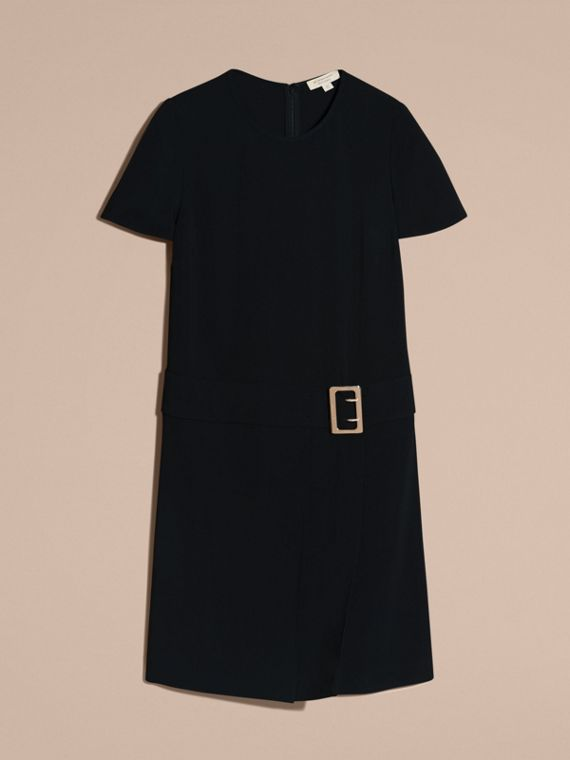 Black Buckle Detail Pleated Shift Dress Black - cell image 3