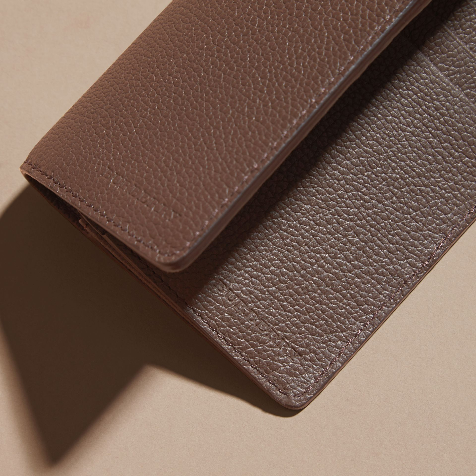Deep taupe brown Grainy Leather Continental Wallet Deep Taupe Brown - gallery image 2