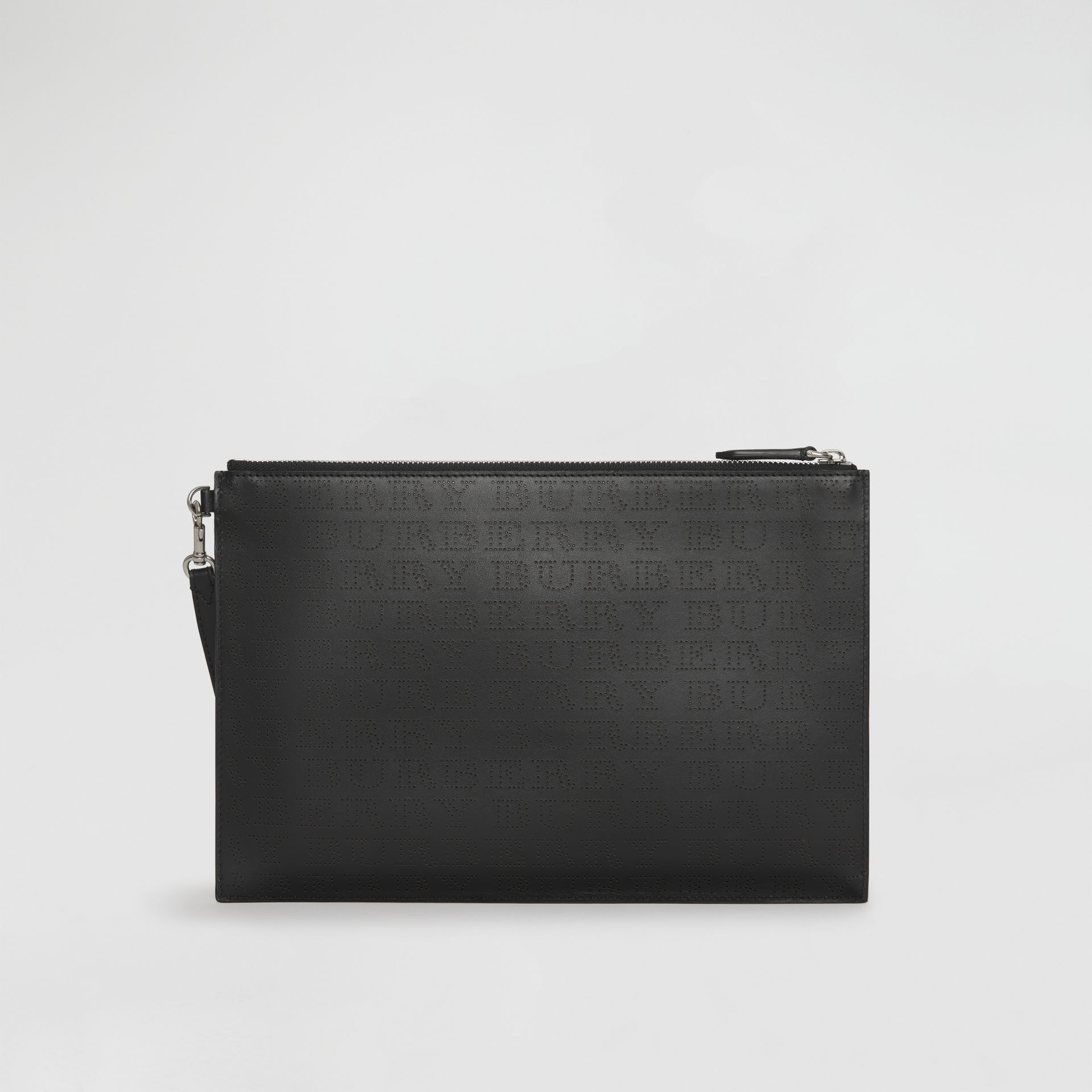 Perforated Logo Leather Zip Pouch in Black | Burberry - gallery image 9