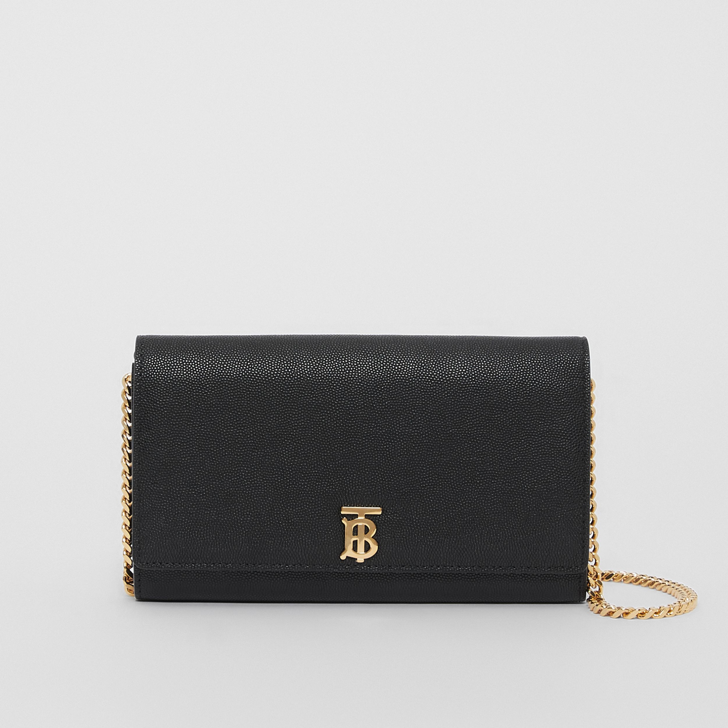 Monogram Motif Leather Wallet with Detachable Strap in Black - Women | Burberry - 1