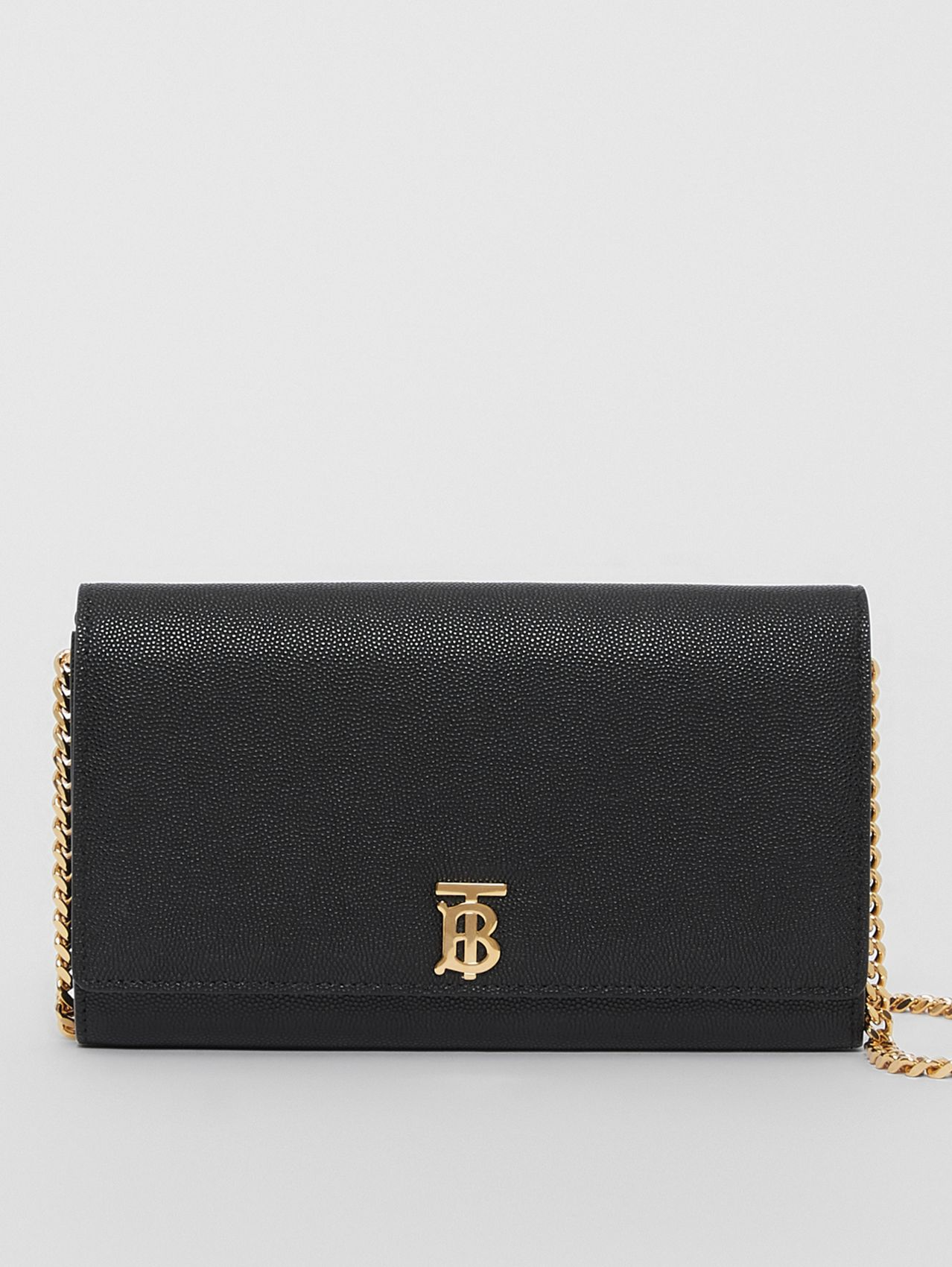 Monogram Motif Leather Wallet with Detachable Strap in Black