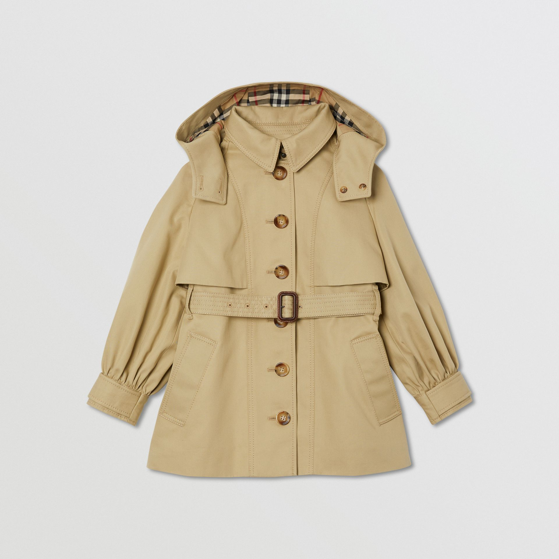 Detachable Hood Cotton Twill Trench Coat in Honey | Burberry - gallery image 0