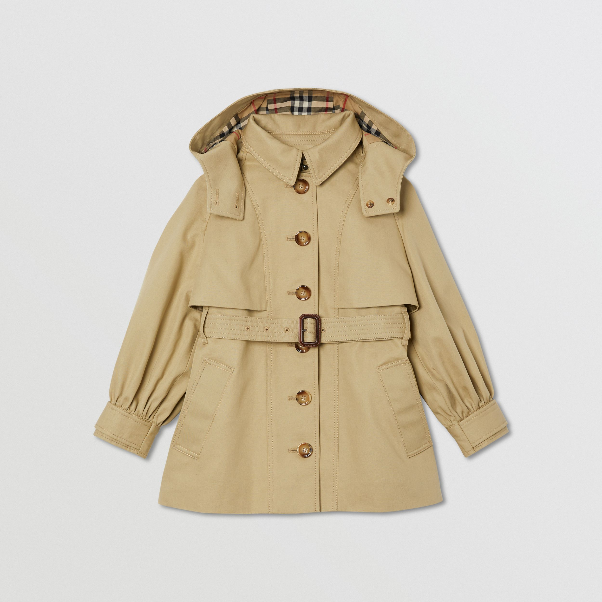 Detachable Hood Cotton Twill Trench Coat in Honey | Burberry United Kingdom - 1