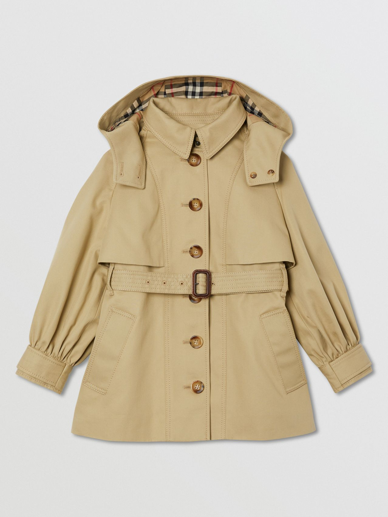 Detachable Hood Cotton Twill Trench Coat in Honey