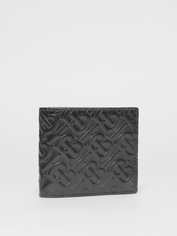 Monogram Leather Bifold Wallet with ID Card Case in Black - Men | Burberry United States - cell image 3
