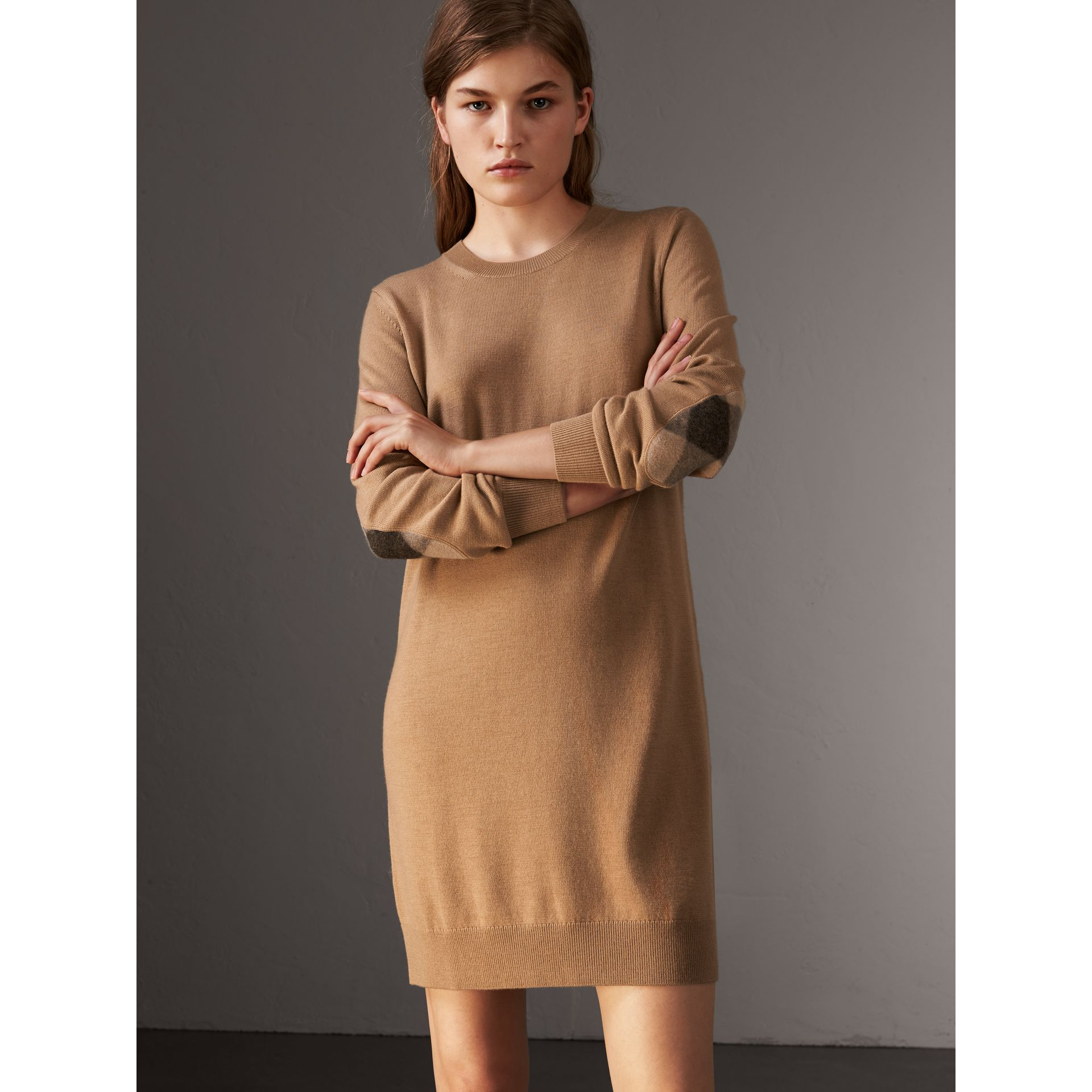 Check Elbow Detail Merino Wool Sweater Dress in Camel - Women | Burberry United States - gallery image 1