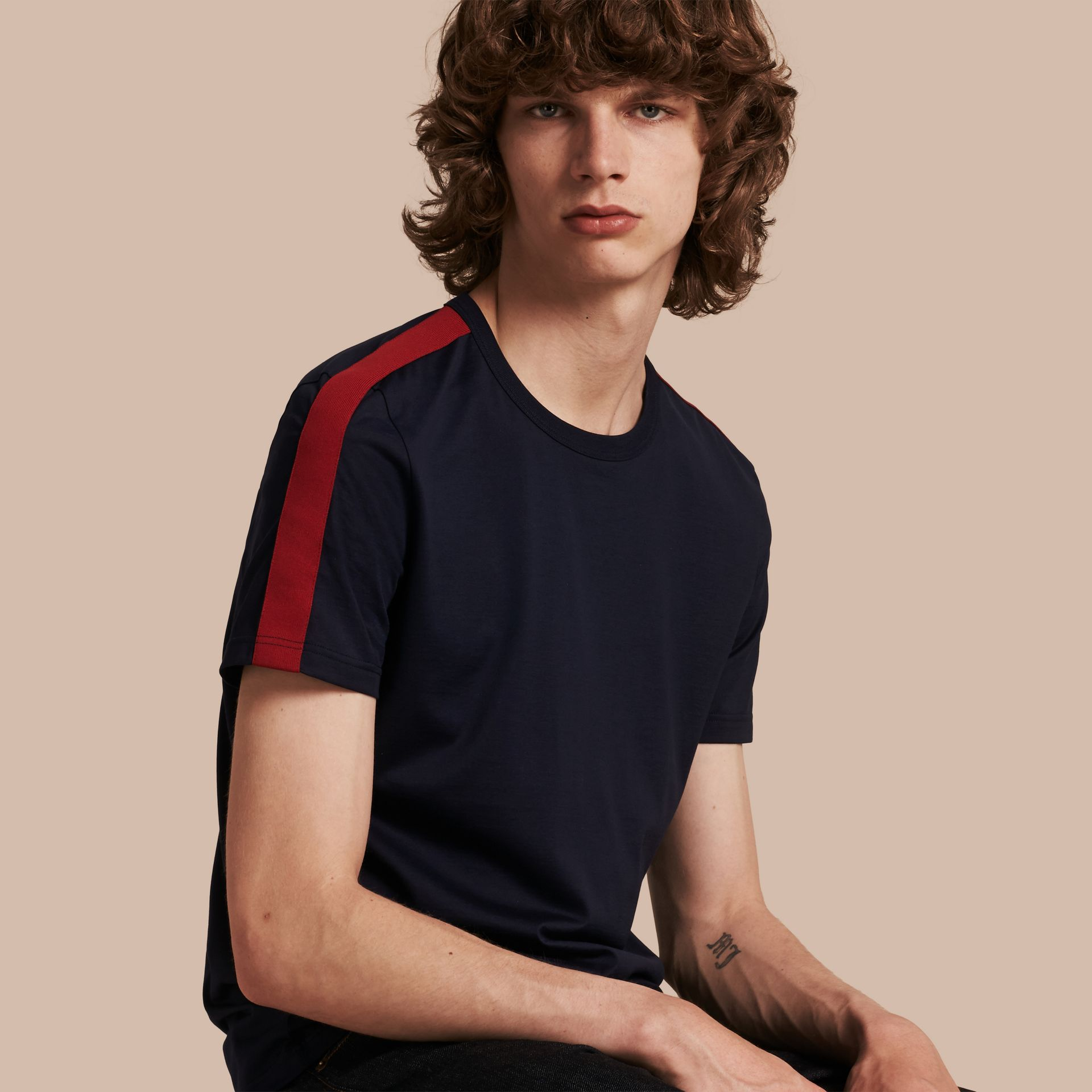 Navy Shoulder Stripe Cotton T-shirt Navy - gallery image 1