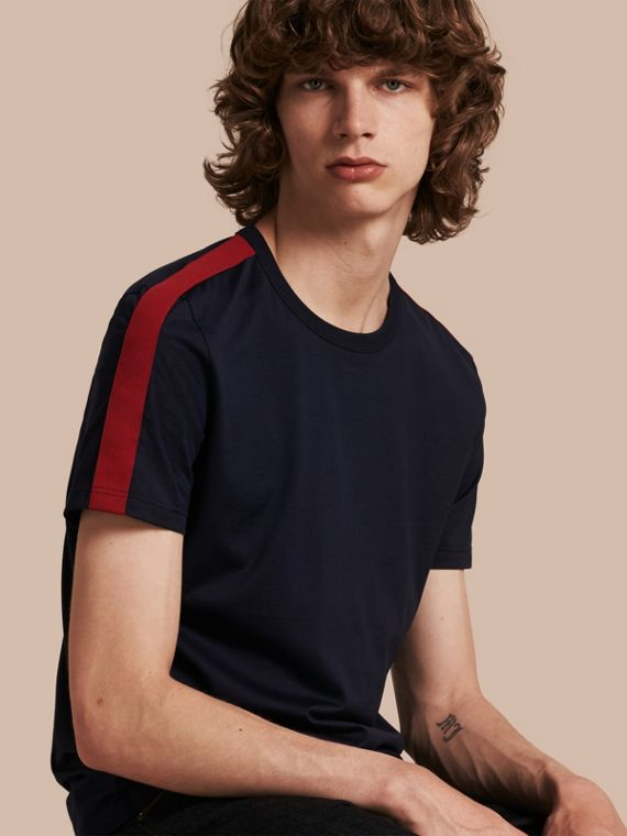 Shoulder Stripe Cotton T-shirt Navy