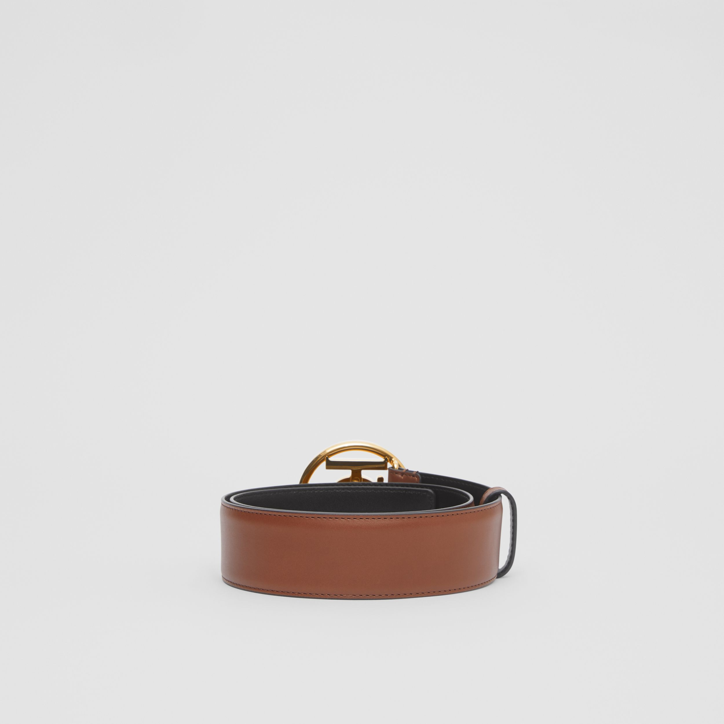Monogram Motif Leather Belt in Tan/antique Dark Brass | Burberry - 4