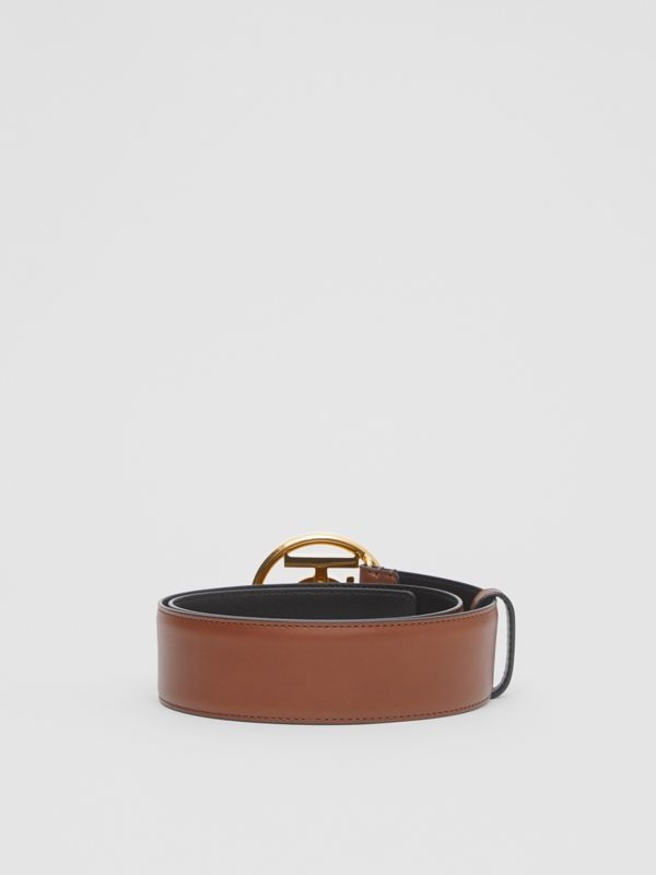 Monogram Motif Leather Belt in Tan/antique Dark Brass - Women | Burberry United Kingdom - cell image 3