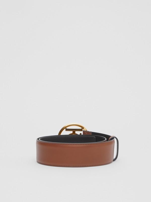 Monogram Motif Leather Belt in Tan/antique Dark Brass - Women | Burberry Canada - cell image 3