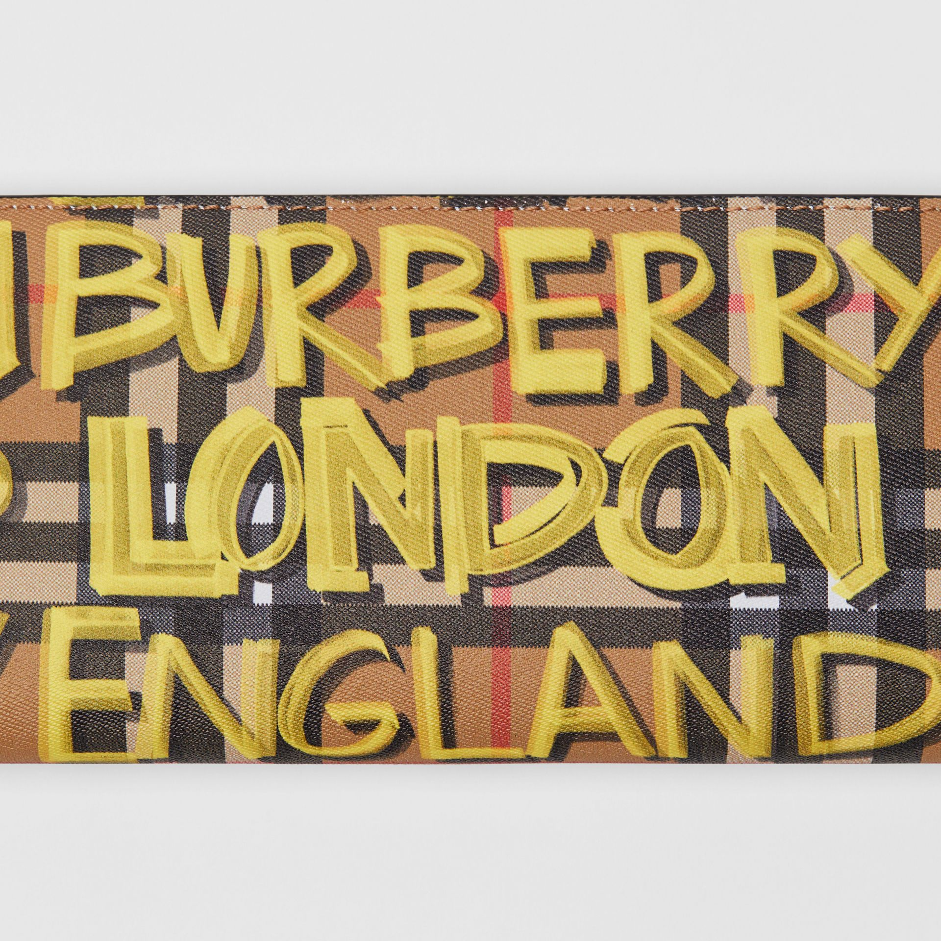 Graffiti Print Vintage Check Leather Continental Wallet in Multicolour - Men | Burberry Canada - gallery image 1