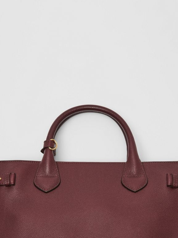 The Medium Banner in Leather and House Check in Mahogany Red - Women | Burberry - cell image 1