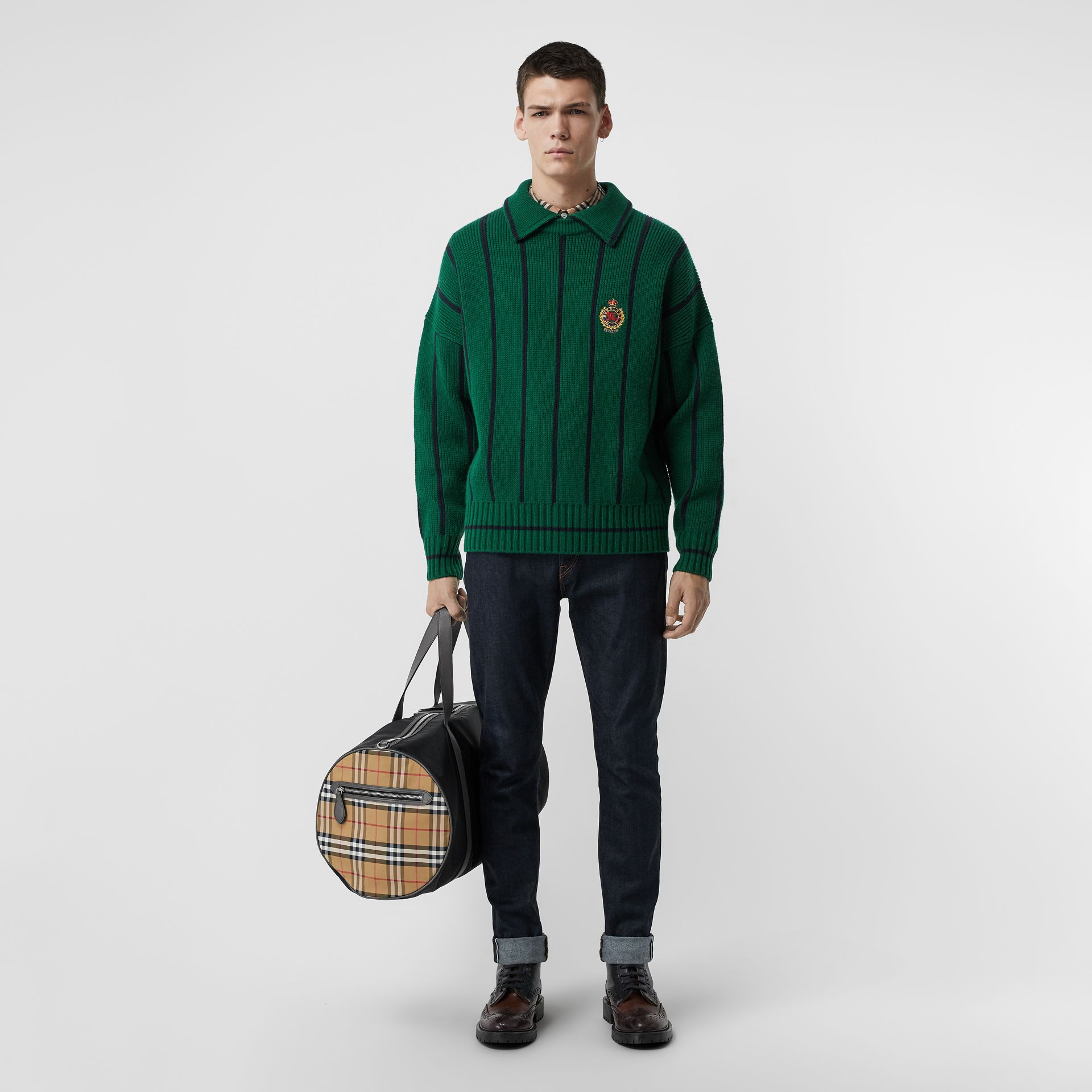 Striped Wool Cashmere Sweater in Bright Forest Green - Men | Burberry Singapore - gallery image 0