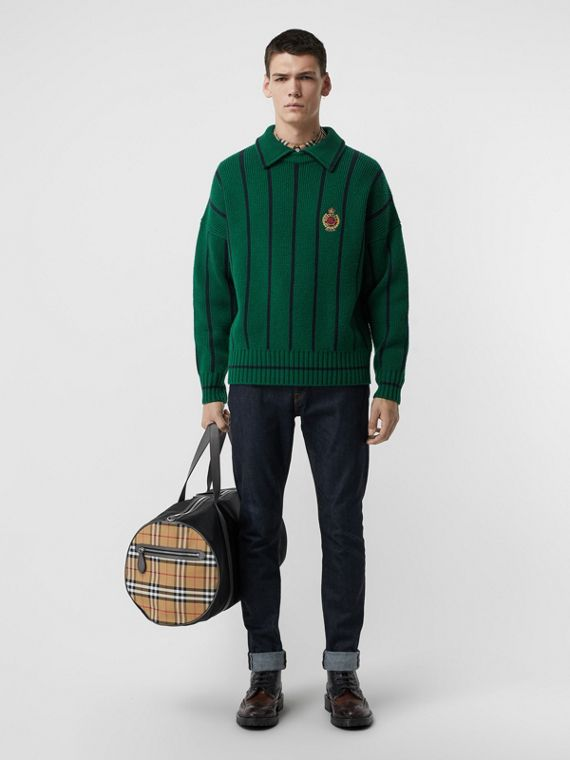 Striped Wool Cashmere Sweater in Bright Forest Green