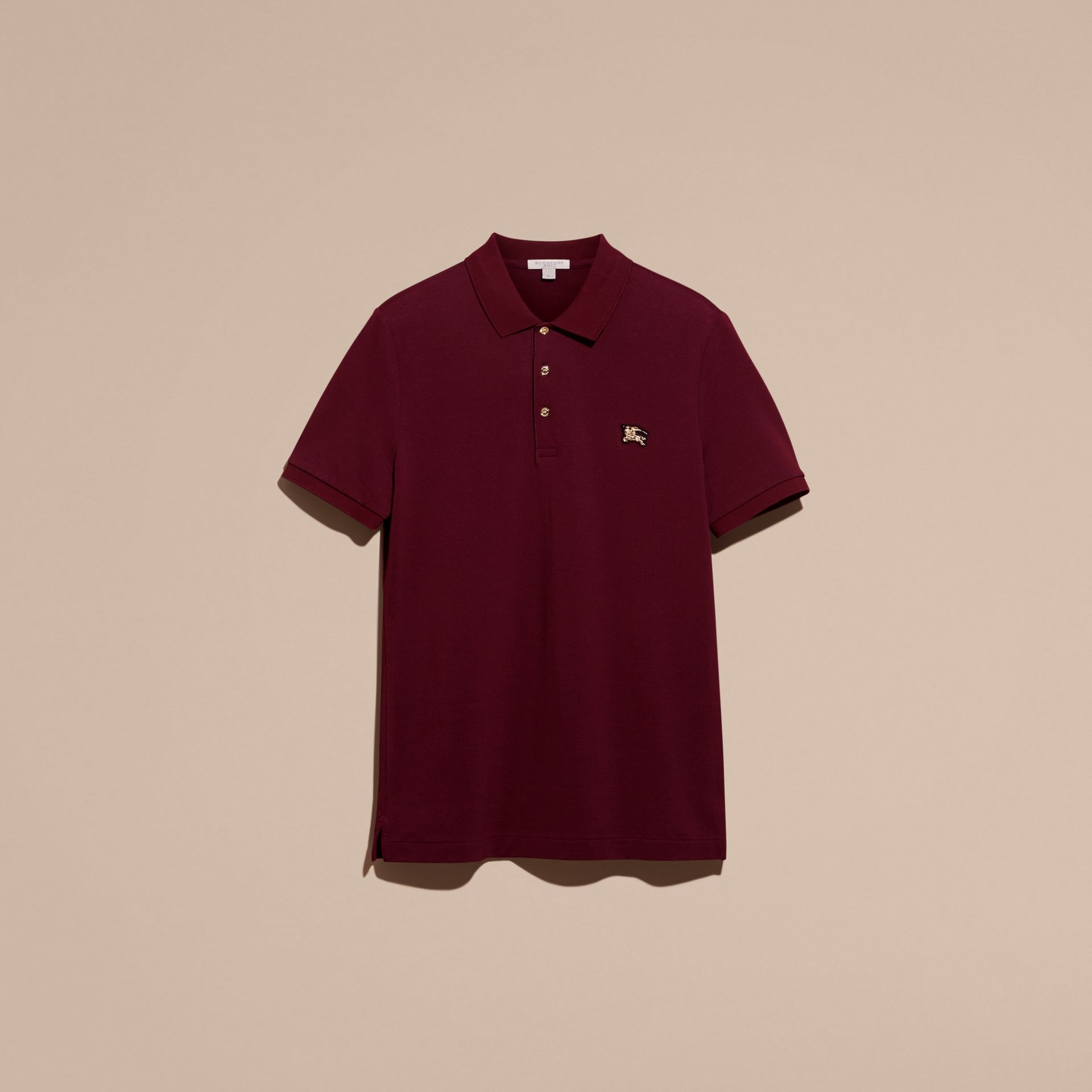 Cotton Piqué Polo Shirt in Burgundy Red - Men | Burberry - gallery image 4
