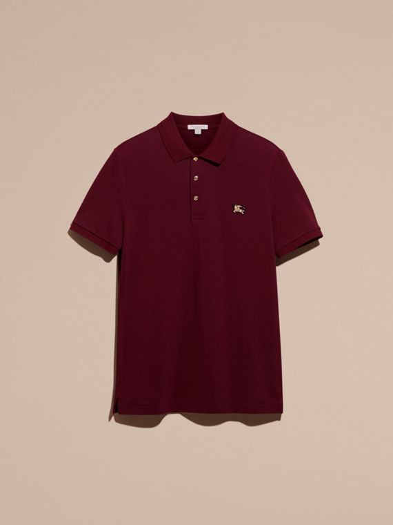 Burgundy red Fitted Mercerised Cotton-Piqué Polo Shirt Burgundy Red - cell image 3