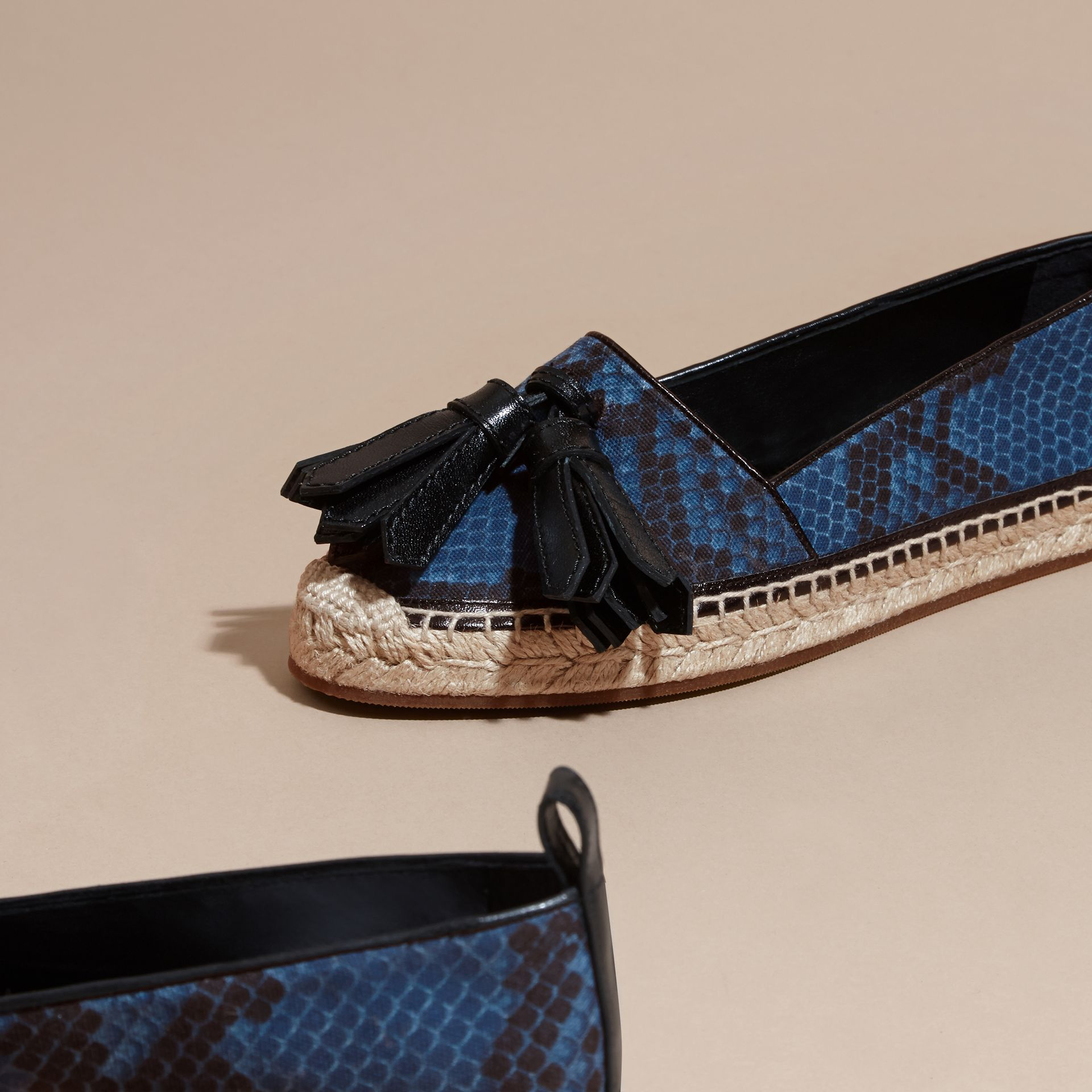 Mineral blue Tasselled Python Print Cotton and Leather Espadrilles Mineral Blue - gallery image 3