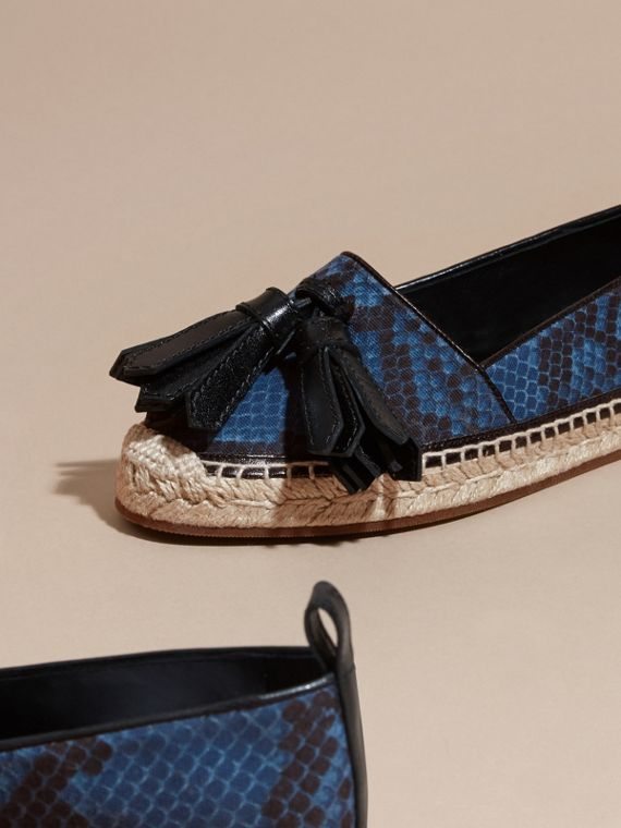 Mineral blue Tasselled Python Print Cotton and Leather Espadrilles Mineral Blue - cell image 2